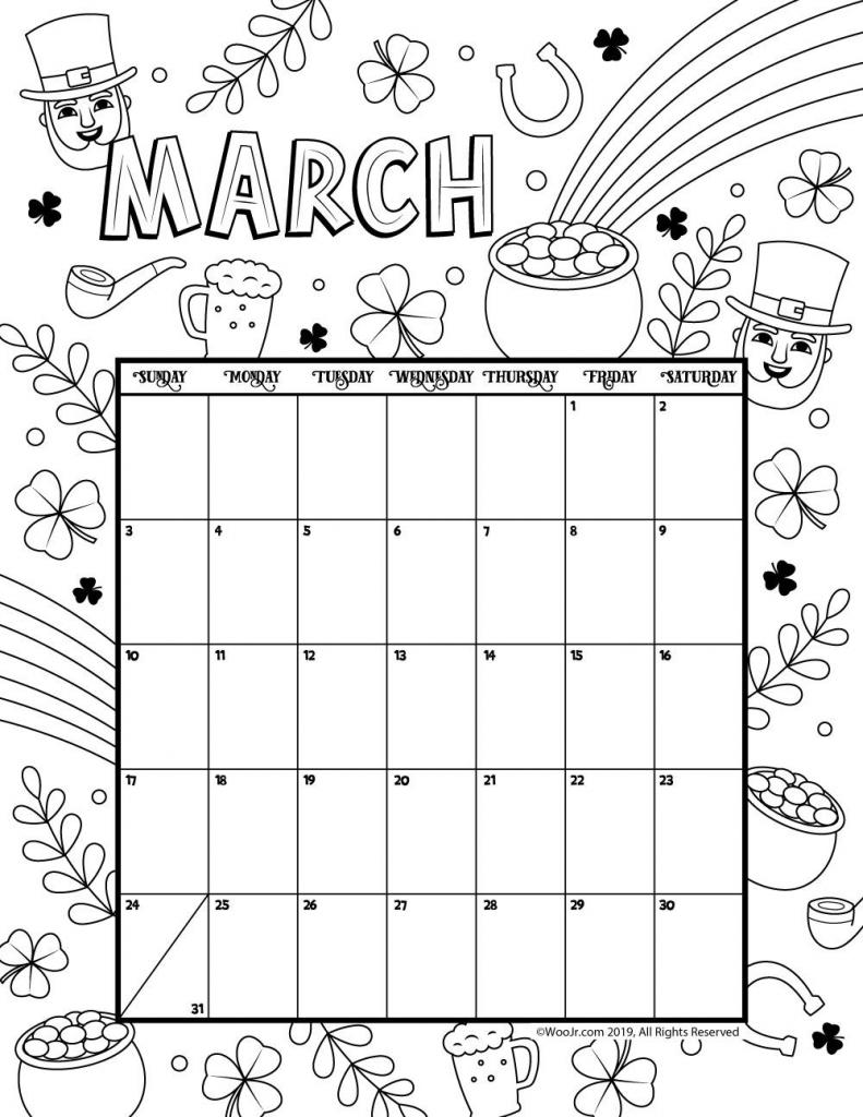 march 2019 coloring calendar march calendar printable kids activities calendar template