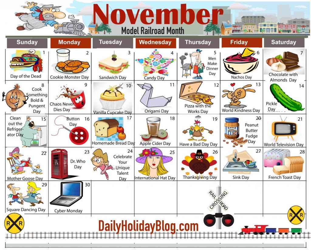 november daily holiday calendar national holiday calendar free printable wacky holiday calendar