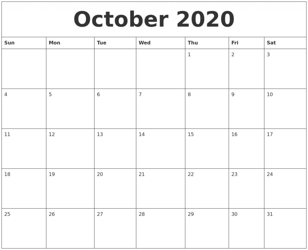 october 2020 calendar monday to friday 2020 october calendar