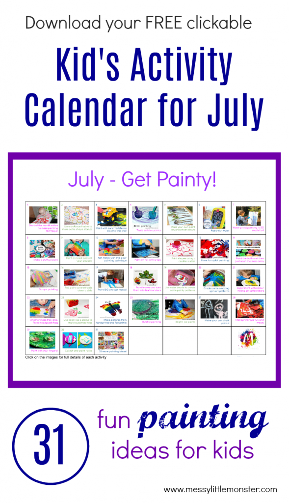 painting ideas activity calendar fun kids painting make your own kids calendar free