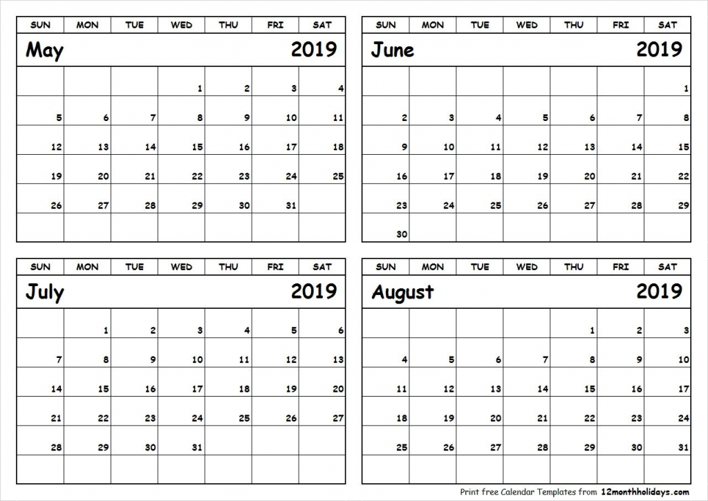print may to august 2019 calendar template 4 month printable 4 month calendar you pick the months