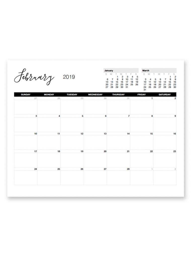 printable february 2019 calendar free printable calendar calendar template for 11 by 17 paper