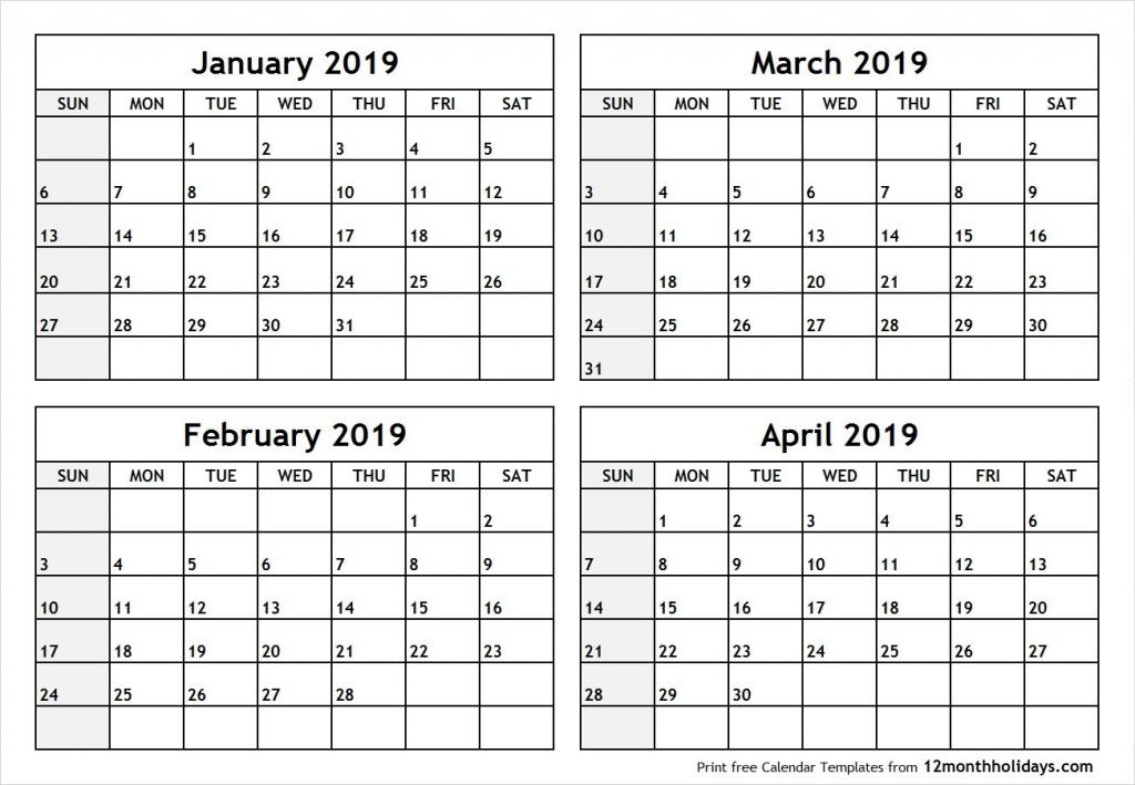 Printable Four Months Per Page 2020 Calendar Example Printable 4 Month Calendar You Pick The Months