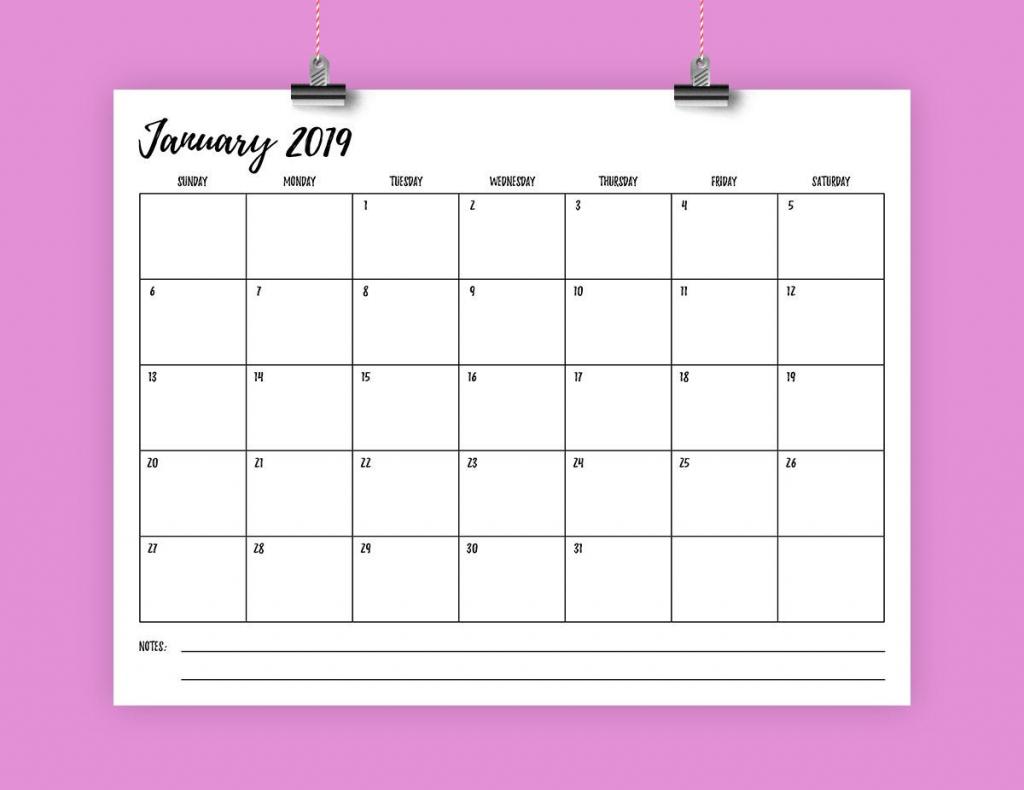 sale 85 x 11 inch 2019 calendar template instant download monthly printable fun handwritten script type print ready digital calender 8 5 x 11 calendar