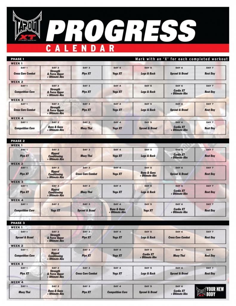 tapout xt tap out workout calendar tapout xt y workout tapout xt2 calendar