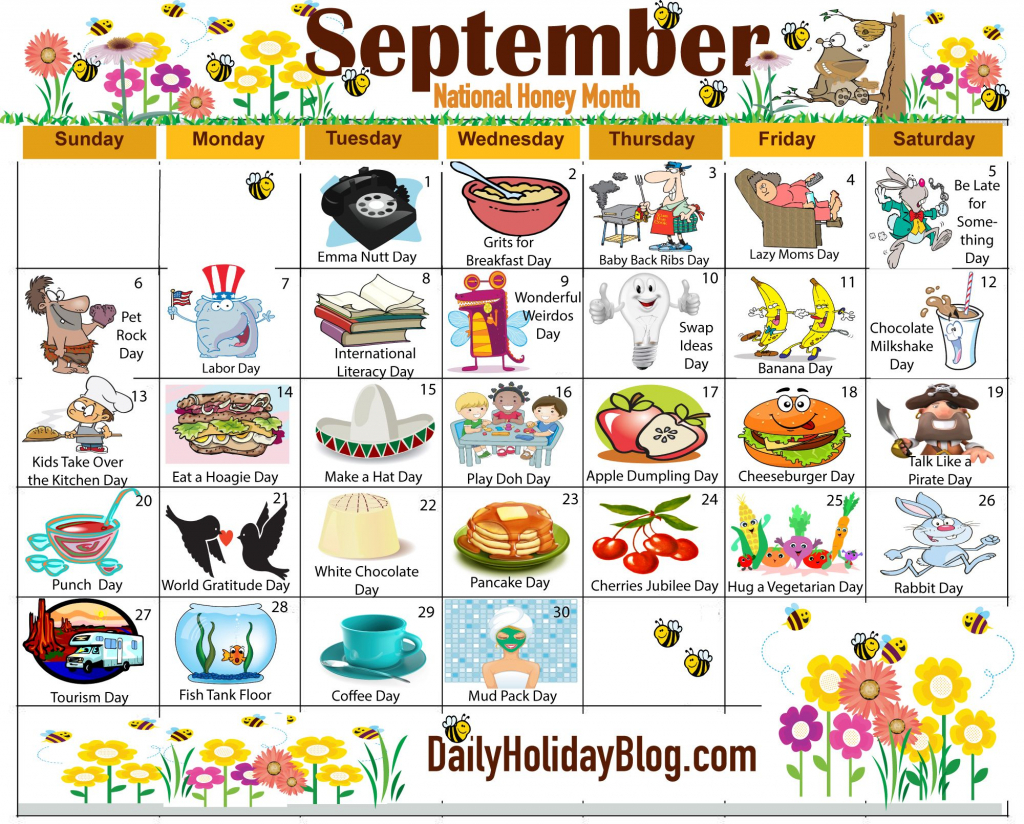 the new free september holiday calendar is available to free printable wacky holiday calendar