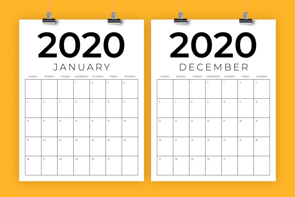 vertical 85 x 11 inch 2020 calendar 8 5 x 11 calendar