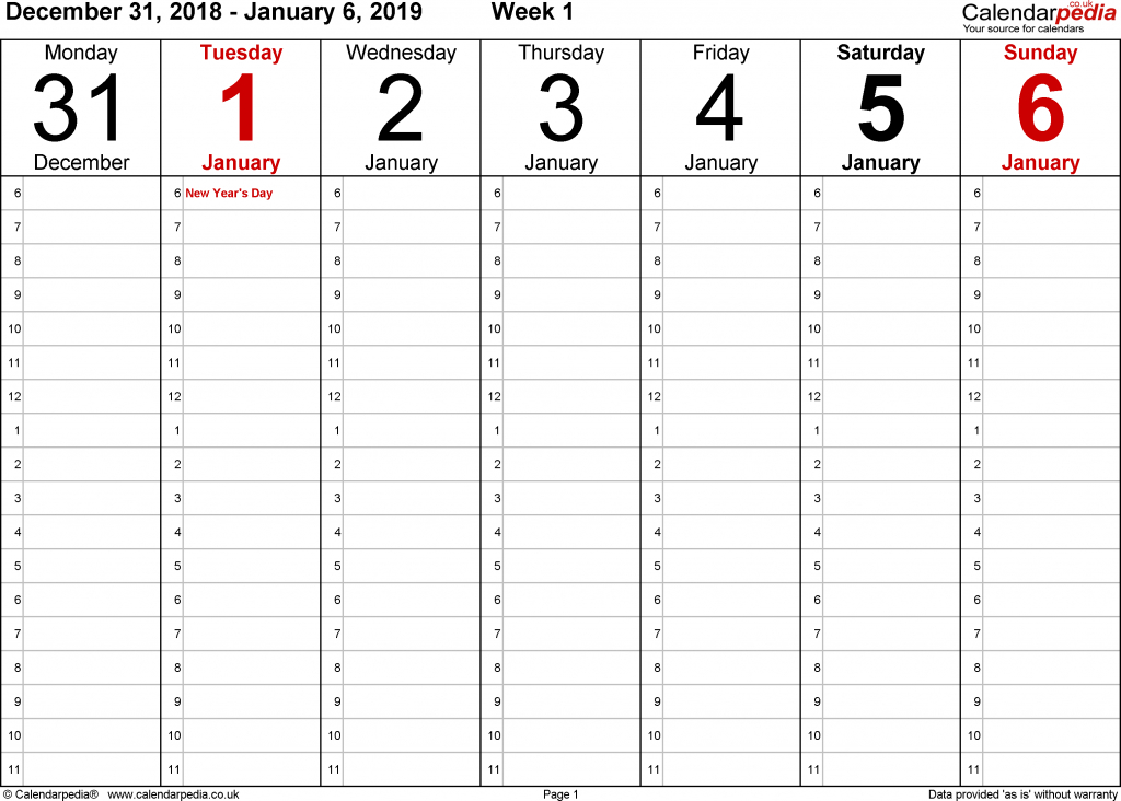 weekly calendar 2019 uk free printable templates for word printable calendar with the hours on the days