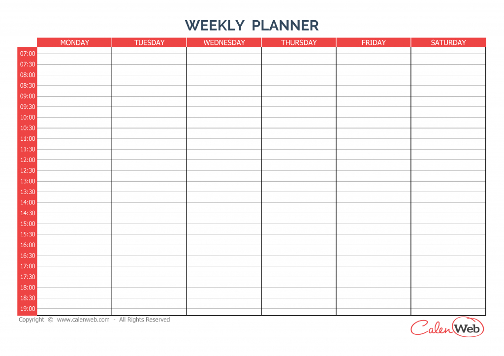 weekly planner 6 days a week of 6 days calenweb six week calendar template download