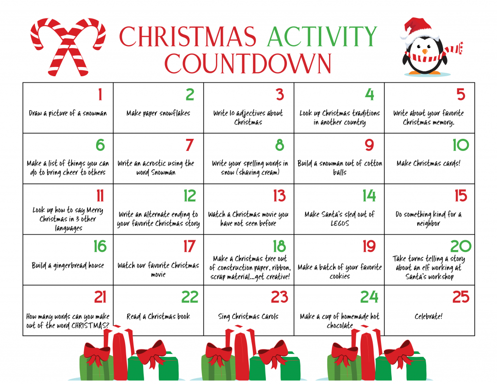 winter bucket list christmas calendar countdown kids love countdown calendar for preschool printable