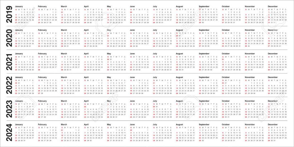 year 2019 2020 2021 2022 2023 2024 calendar vector design template 10 year calendar