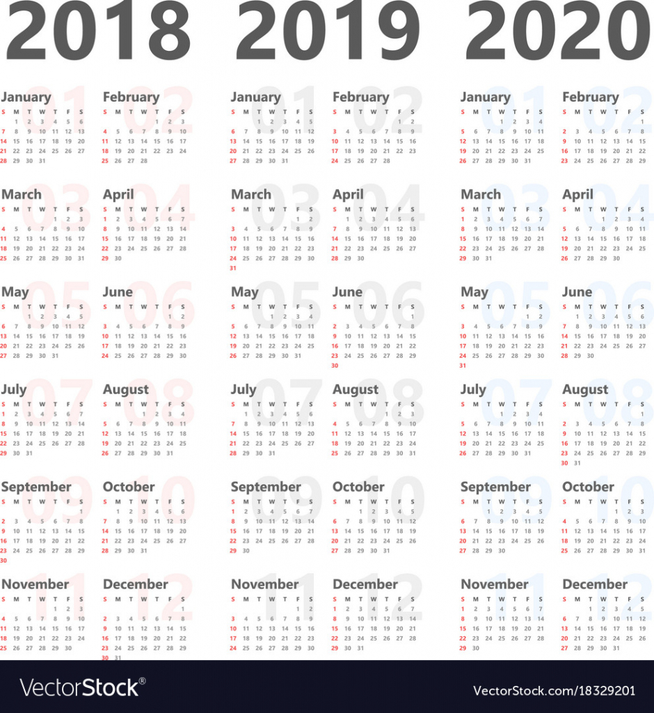 yearly calendar for next 3 years 2018 to 2020 10 year calendar