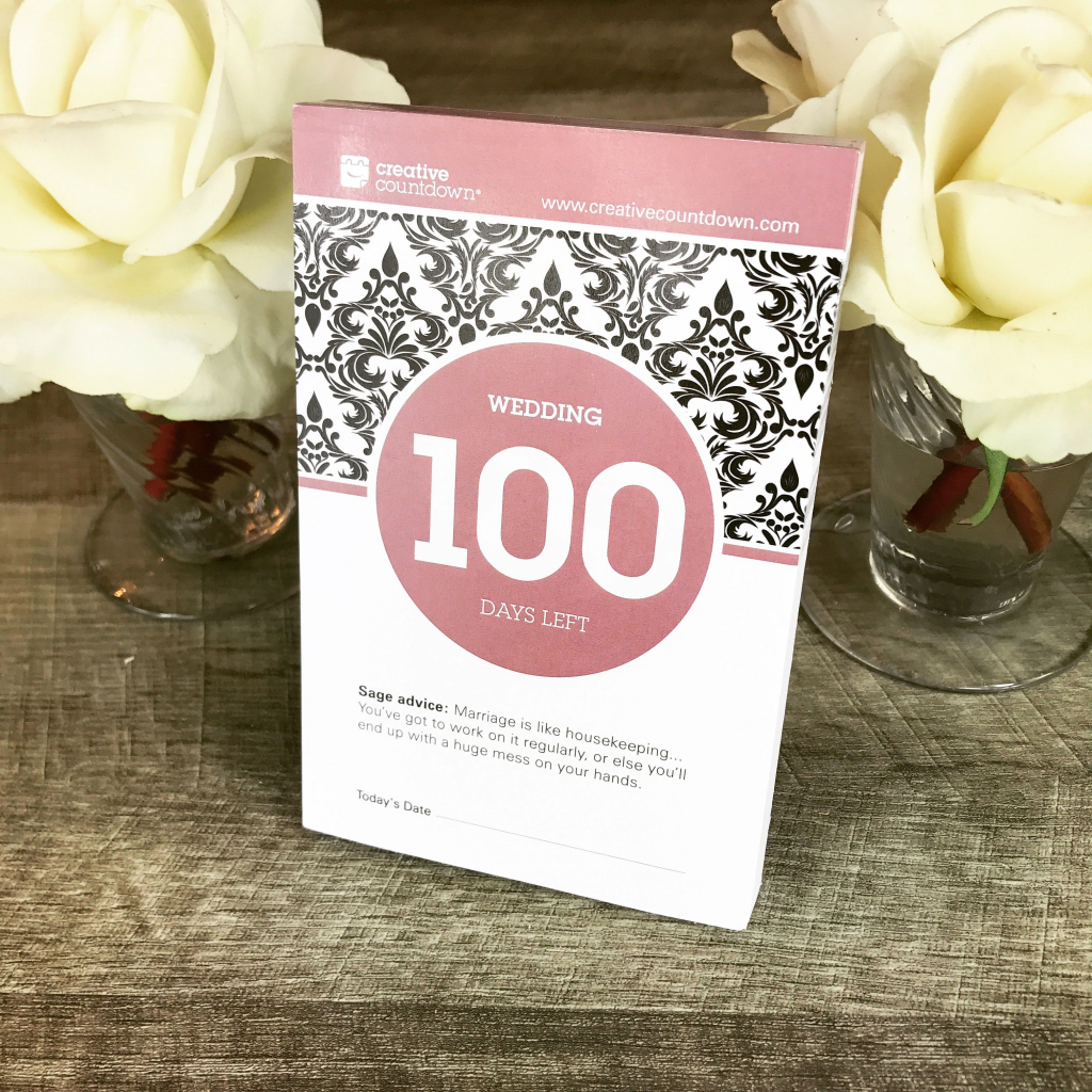 100 day countdown to wedding is the newest product in non 365 day retirement calendar