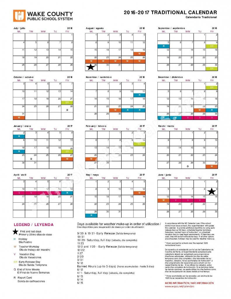 2016 2017 traditional calendar wake county public school year round calendar wcpss