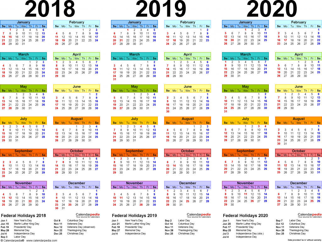 2019 Yearly Calendar Free Download Printable Calendar 3 Year Calendar Template