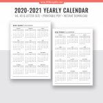 2020 2021 Yearly Calendar Year At A Glance Digital Printable Planner Inserts Sunday Start Black White Printable Planner Filofax A5 A4 Letter Calendar Week At A Glance Template 2020