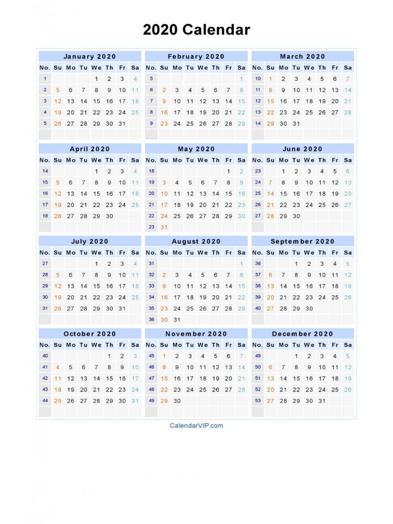 2020 calendar blank printable calendar template in pdf calendar week at a glance template 2020