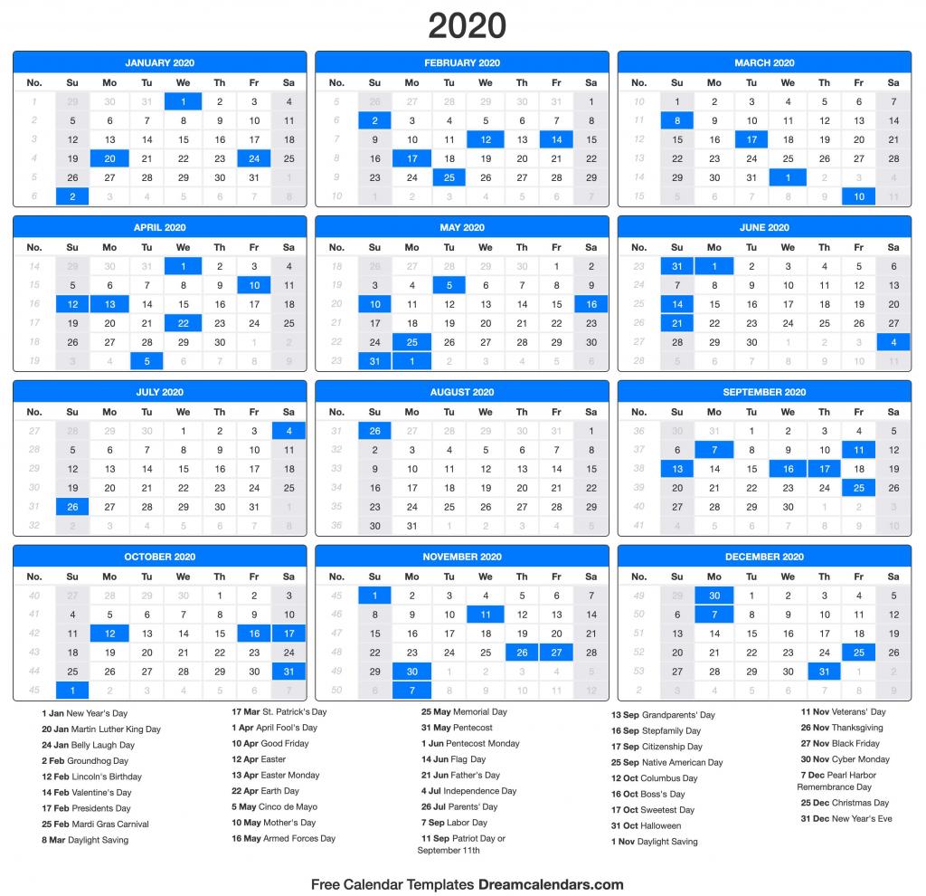 2020 calendar day count calendar 2020