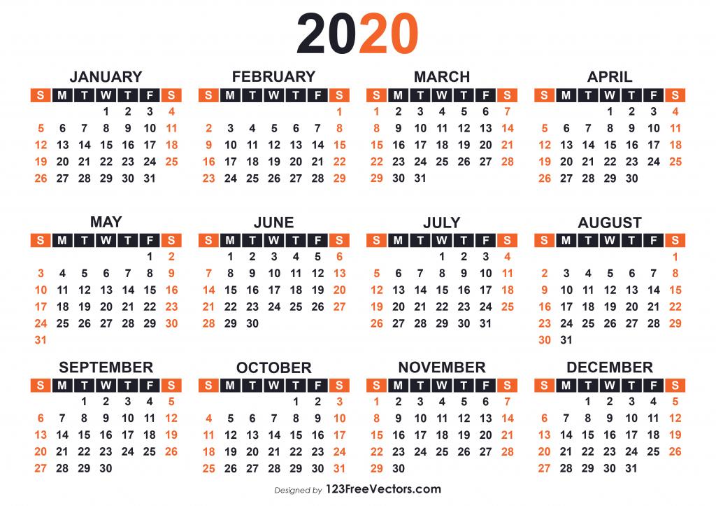 2020 free printable calendar templates 2020 calendar print free