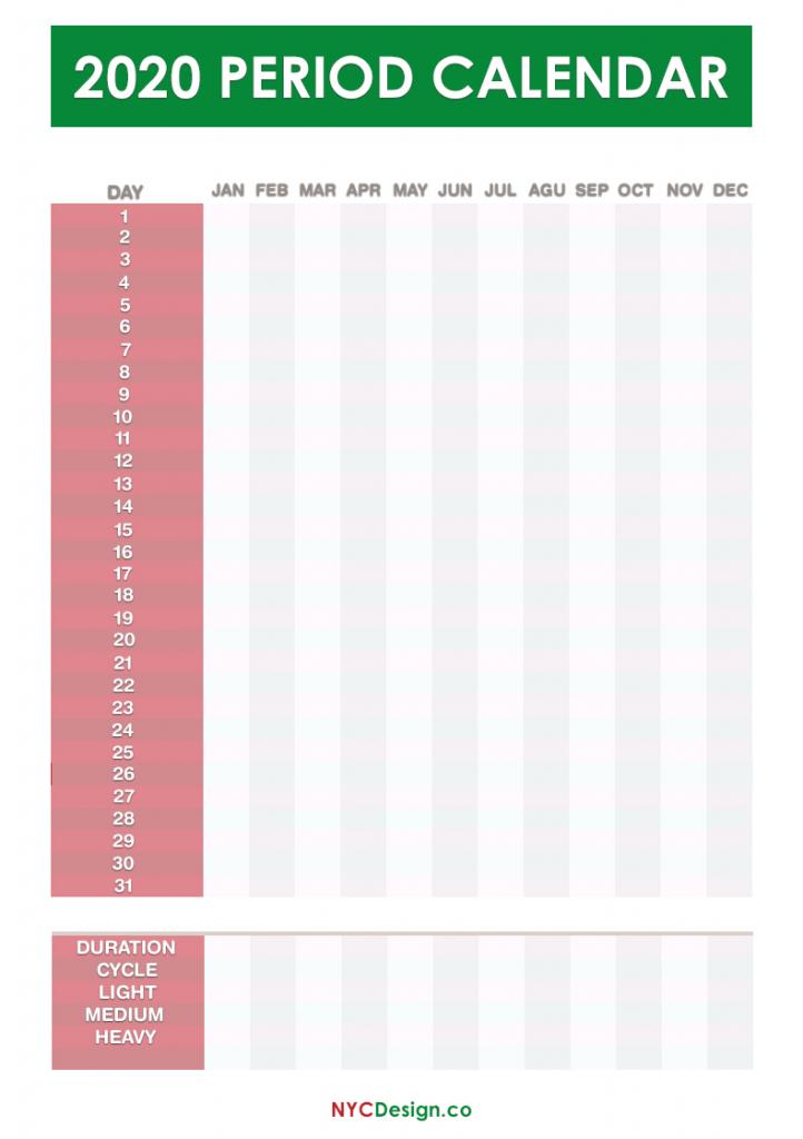 2020 period calendar free printable pdf jpg green red printable period callendar printable