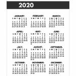2020 Printable One Page Year At A Glance Calendar Paper Printable 2020 June Calendar 8 5 X 11