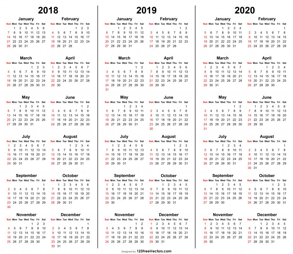 3 year calendar 2018 2019 2020 printable images of 3 year calendars