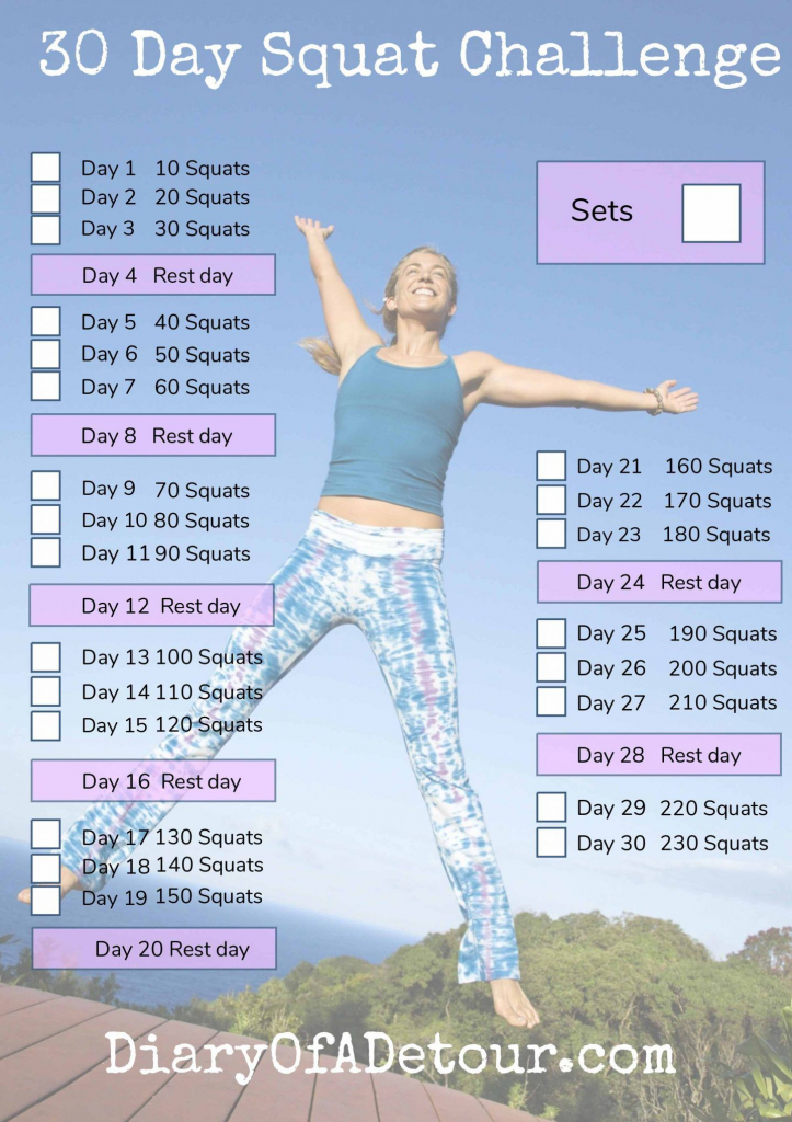 30 day squat challenge a fitness challenge for all printable squat challenge