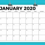 85 X 11 Inch Bold 2020 Calendar 8 5 By 11 Printable Generic Calender