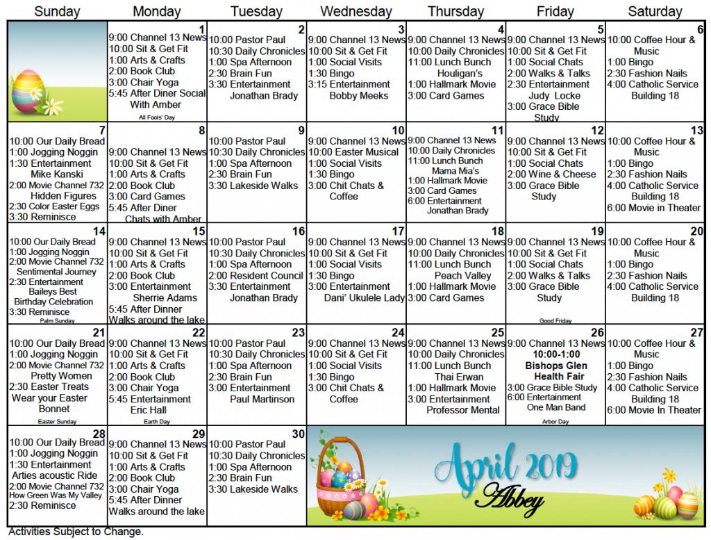 bishops glen retirement center activity calendar for april retirement calender