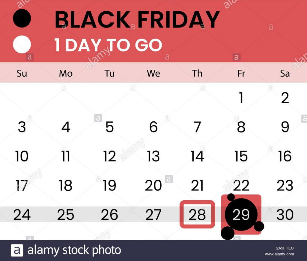 black friday banner as calendar with countdown 1 day to go calendar by day count