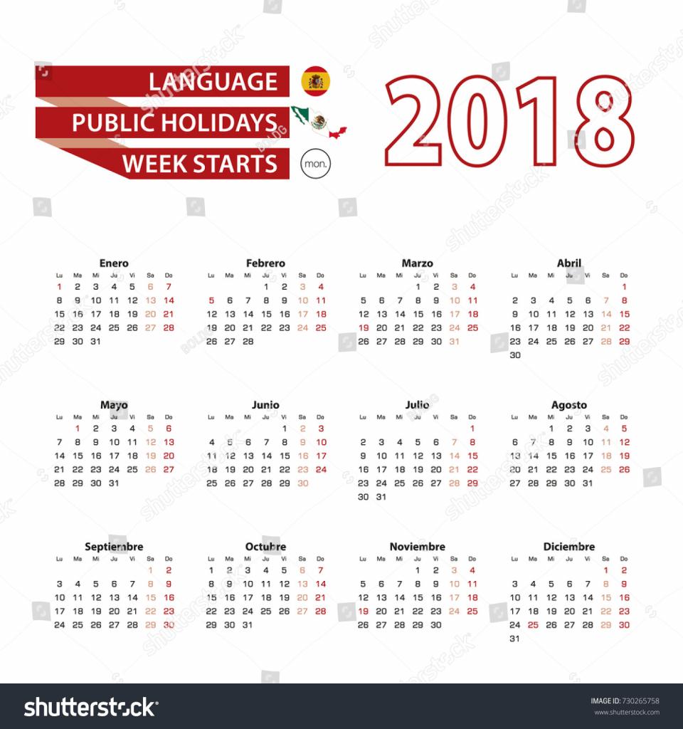 calendar 2018 spanish language 6 week holiday calendar