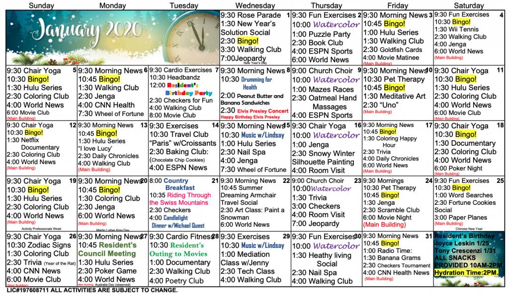 calendar of events retirement calendar 2020