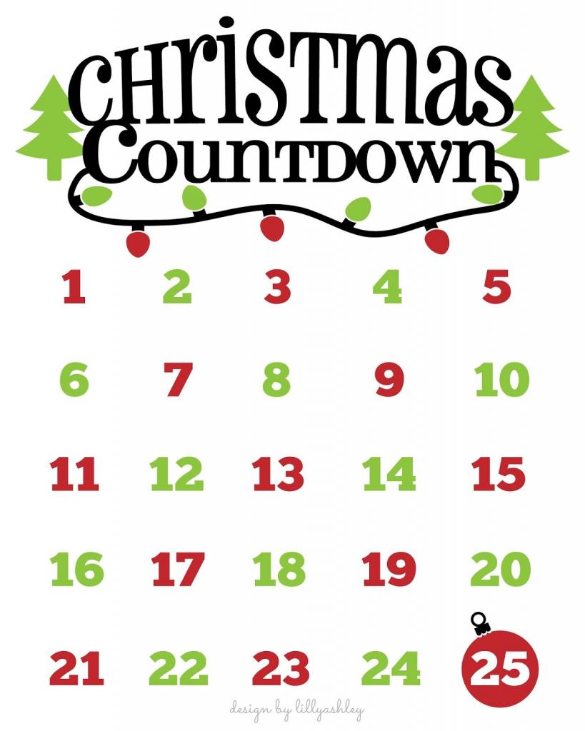 Christmas Countdown Free Printable And Free Svg Christmas Printable Xmas Countdown Calendar