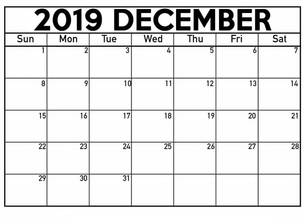 december 2019 calendar printable waterproof paper pritnable calnder waterproff paer