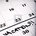 Detail Of A Calendar Page With The Word Vacation License Print Black Out Schedule For Vacation