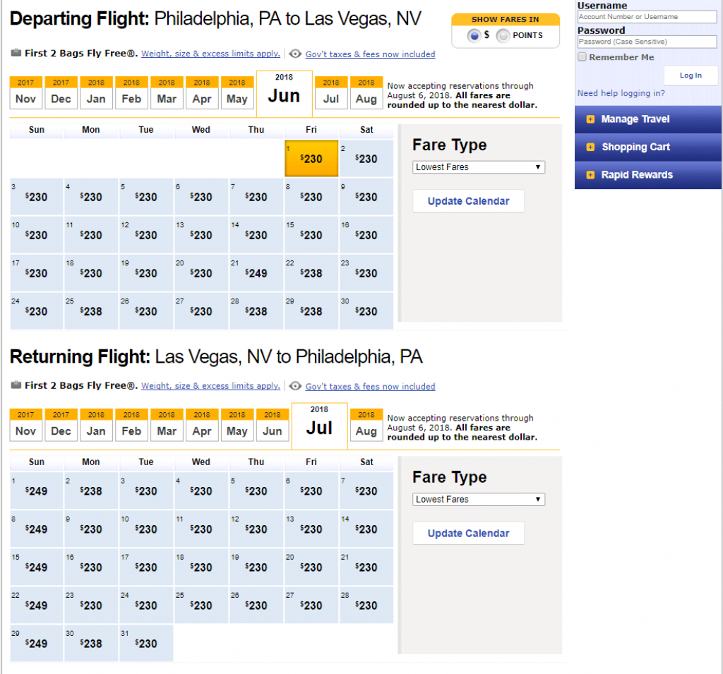 finding low fares on southwest airlines travelzork southwest low fare calendar