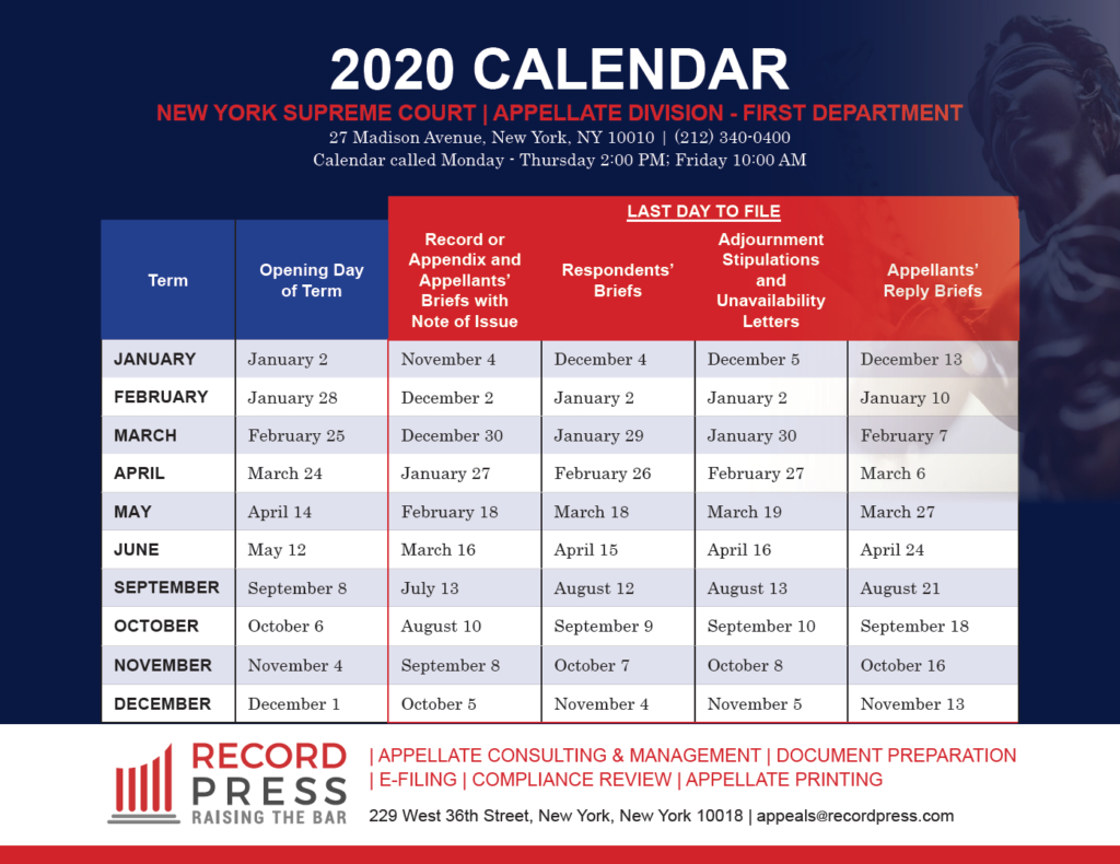 first department 2020 calendar record press 2nd department appellate division calendar 1