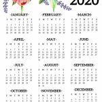 Free Printable 2020 Calendar Yearly One Page Floral Paper 2020 Calendar Print Free