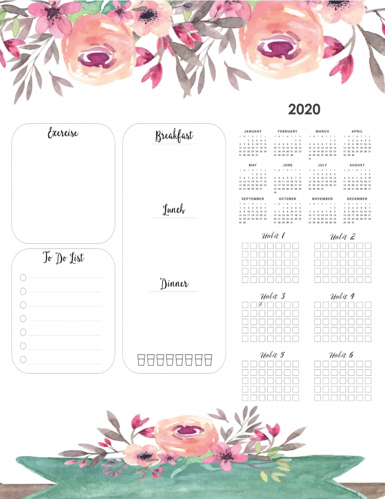 free printable 2020 yearly calendar at a glance 101 2020 weight loss calendar template 1