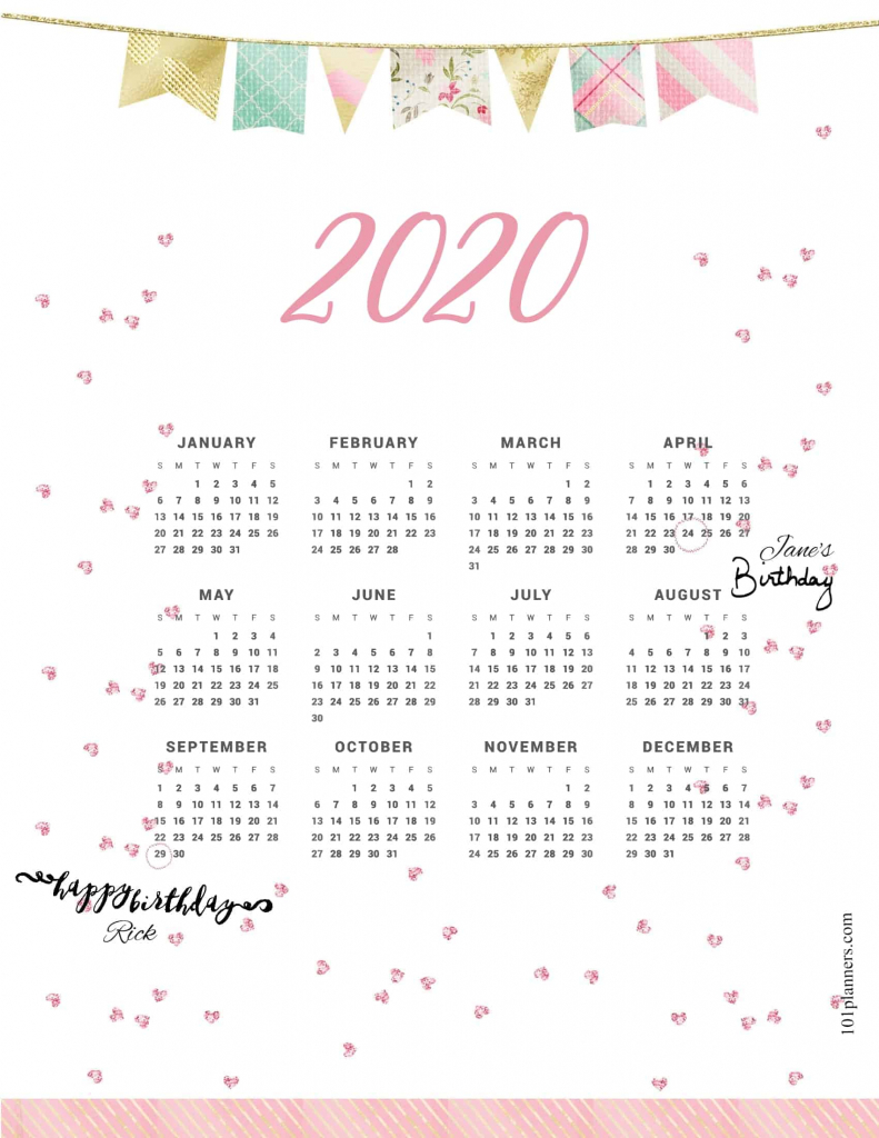 free printable 2020 yearly calendar at a glance 101 2020 weight loss calendar template
