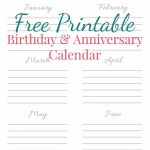 Free Printable Birthday Anniversary Calendar Birthday Birthday Anniversary Calendar
