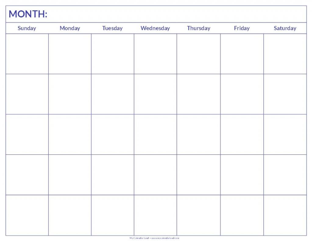 free printable blank monthly calendar student handouts print blank six week