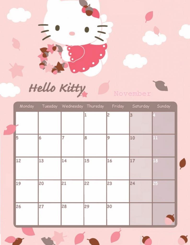 hello kitty november 2018 calendar hello kitty june sanrio printable calendar 2020