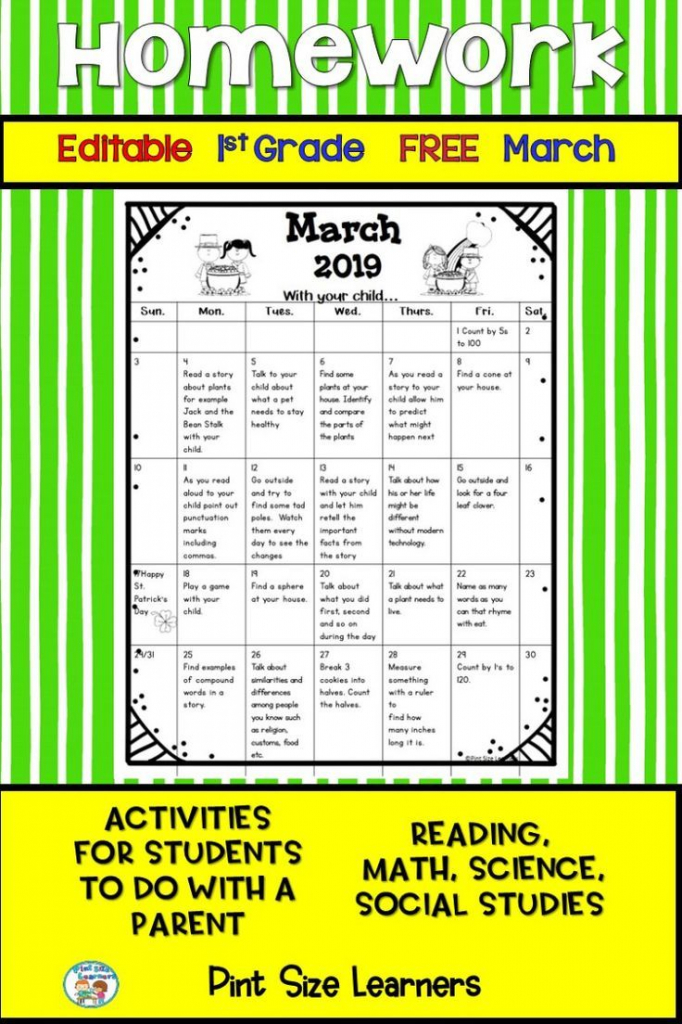 homework calendar first grade free editable march 2019 first grade homework calendar printable