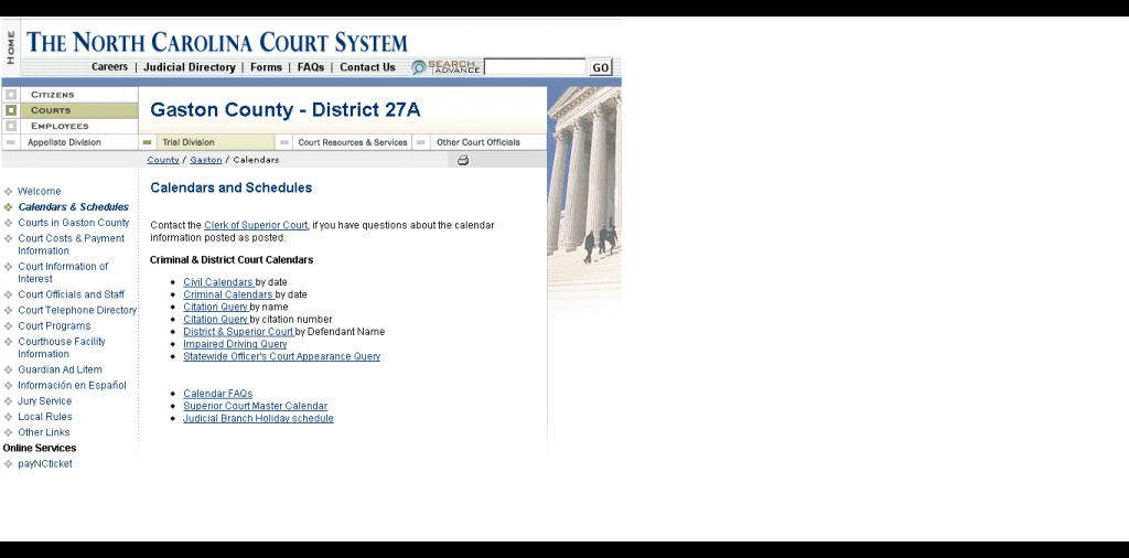 How Do I Find My Court Date If I Dont Have My Ticket Nc District And Superior Court Calendar