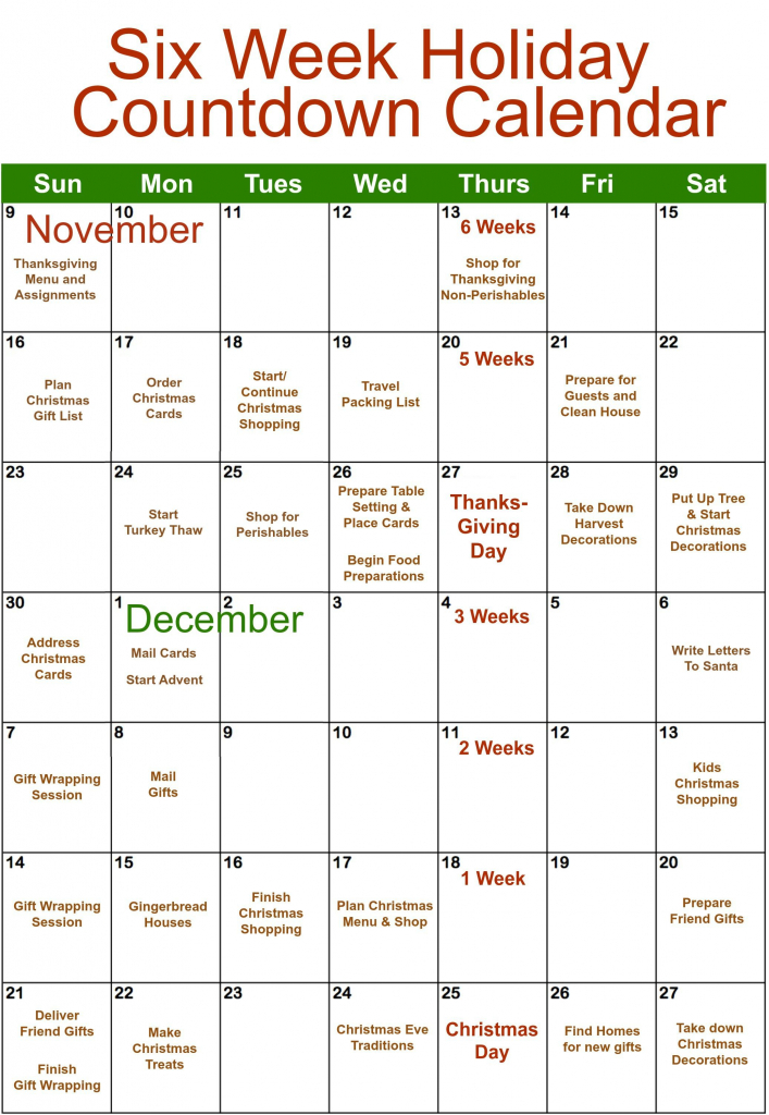 i know i know the 6 week countdown actually started last 6 week holiday calendar