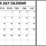 July 2020 Calendar Excel Printable December Calendar Template Free Week At A Glace 2020 July Calendar