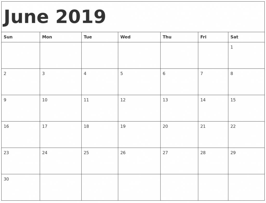 june 2019 printable calendar june june2019 june free printable blank calendar full page