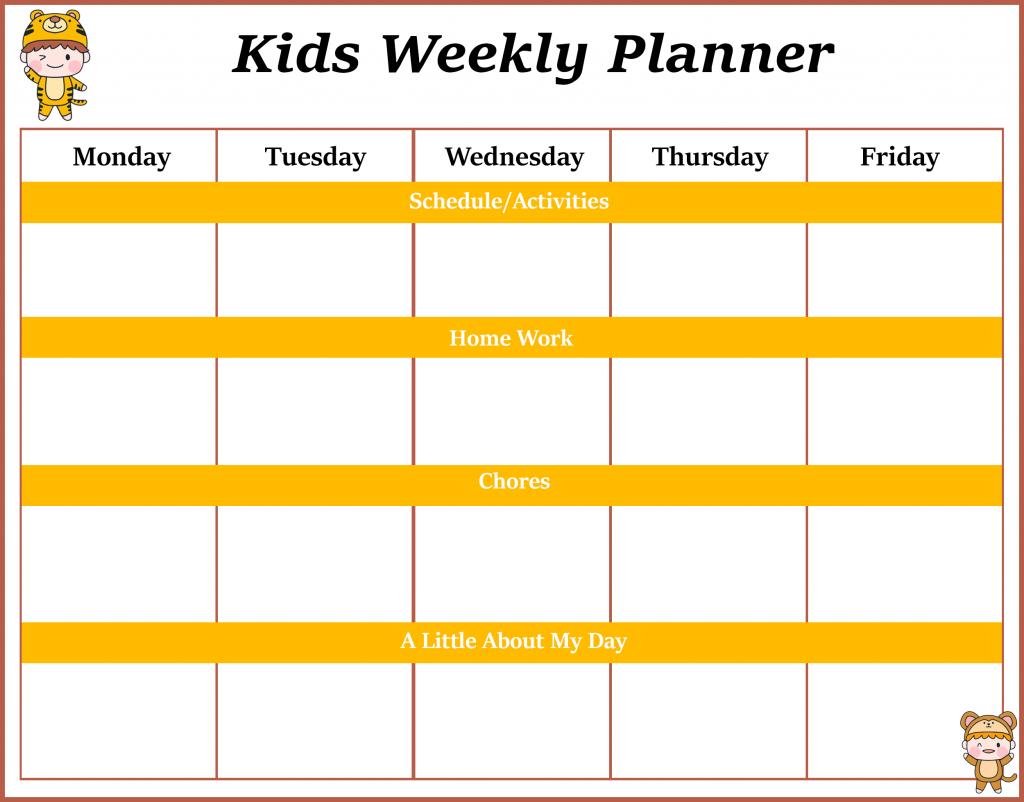 kids schedule templates togowpartco kids activity calendar template