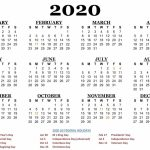 One Page 2020 Printable Us Calendar December Calendar 5 Year Us Calendar